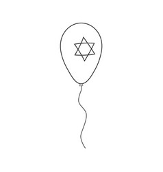 balloon with star of david shape icon in black vector image