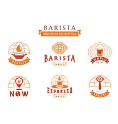 Barista badge design with world icon vector