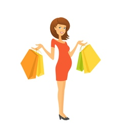 Beautiful pregnant woman with shopping bags vector