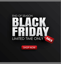 black friday sale banner with white text on black vector image