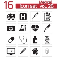 black medical icon set vector image