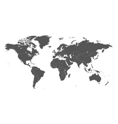 Blank grey political world map isolated on white vector