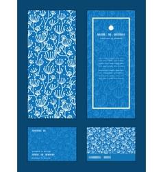 Blue white lineart plants vertical frame vector