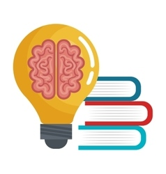 brain idea think book education online graphic vector image