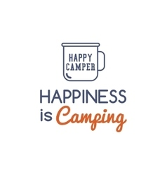 Camping typography concept with hiking symbol - vector