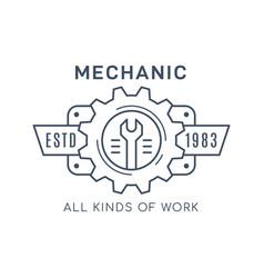 Car service and repair badge design stock vector