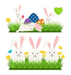 cartoon character easter bunnies and eggs vector image
