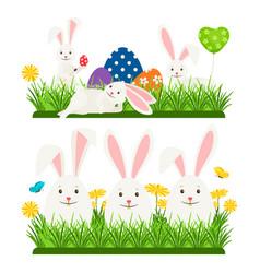 Cartoon character easter bunnies and eggs vector