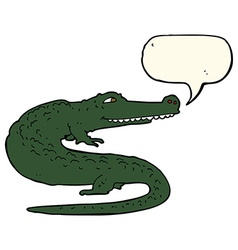 Cartoon crocodile with speech bubble vector