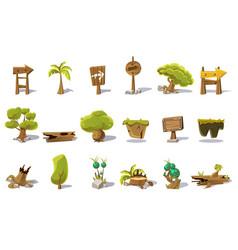 Cartoon set of flat nature elements for vector