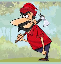 Cartoon surprised man lumberjack standing vector