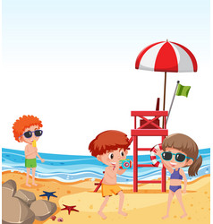 children on beach holiday vector image