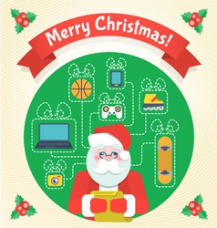 Christmas Card with Santa Claus and a Wishlist vector