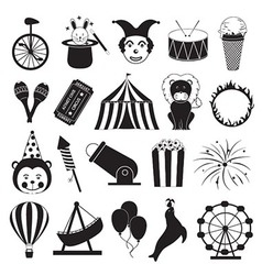 Circus and Amusement Park Icons Set vector