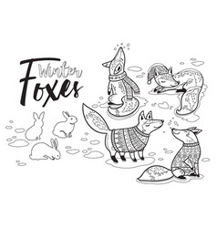Collection of cartoon foxes in cozy sweaters vector