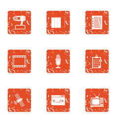 Companion icons set grunge style vector
