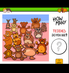 Counting teddy bears educational game vector