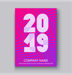 Cover annual report numbers 2019 modern design vector