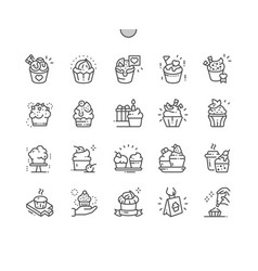cupcakes well-crafted pixel perfect thin vector image