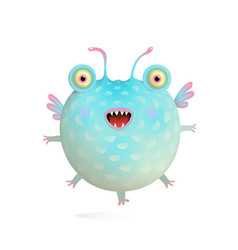 Cute flying happy creature fish monster for kids vector