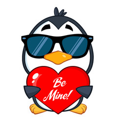 cute penguin character wearing sunglasses vector image
