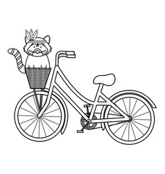 Cute raccoon with feathers hat in bicycle vector