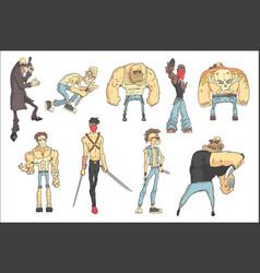 Dangerous criminals set of outlined comics style vector