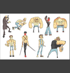 dangerous criminals set outlined comics style vector image