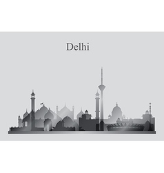 Delhi city skyline silhouette in grayscale vector