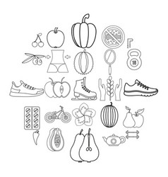 dietary icons set outline style vector image