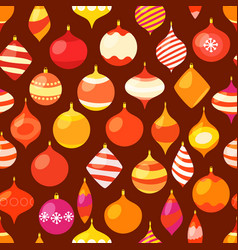 different christmas baubles seamless pattern vector image