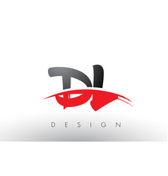 Dl d l brush logo letters with red and black vector
