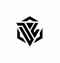 Dl logo monogram with triangle and hexagon modern vector
