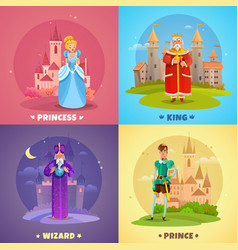 Fairytale characters 2x2 design concept vector