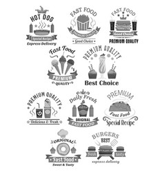 Fast food restaurant icons set vector