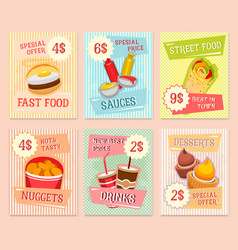 fast food snacks price cards templates vector image
