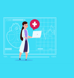 Female doctor hold laptop computer online vector