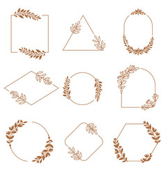 floral ornament badge frames ornamental flowers vector image