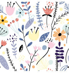 Floral seamless pattern with creative flowers and vector