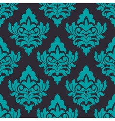 Floral turquoise damask seamless pattern vector