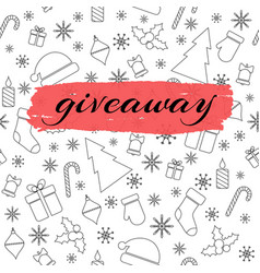 Giveaway card with christmas line pattern vector