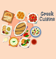greek cuisine tasty lunch dishes icon vector image