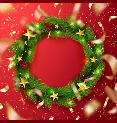 green christmas wreath with rowanstars vector image