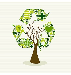 Green recycle symbol concept tree vector image