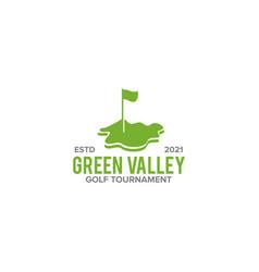 green valley golf logo design template vector image