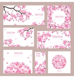Greeting cards with blossoming sakura vector