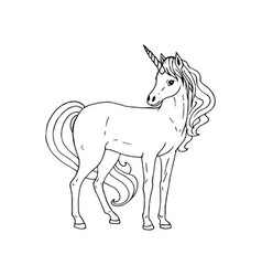hand drawn unicorn black white sketch vector image