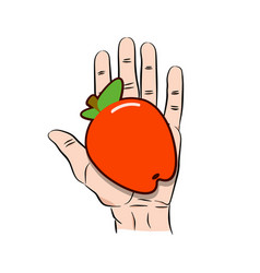 hand giving red apple icon cartoon vector image