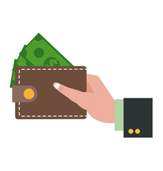 Hand holding wallet dollar money shopping vector