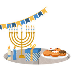 hanukkah party cartoon vector image